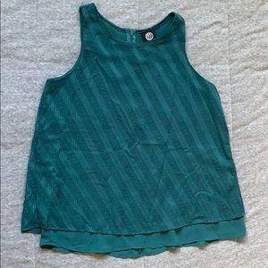 Bobeau teal/turquoise sleeveless split back top